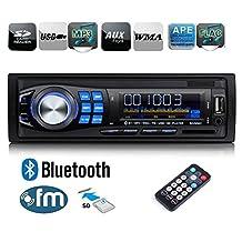 Regetek Car Radio Audio Stereo Receiver Bluetooth Handsfree Head Unit Single DIN In Dash 12V FM SD/USB/Aux MP3 Player+ Remote Control