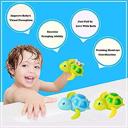 2 PCS Gamtec Baby Bathing Bath Swimming Tub Pool Toy Cute Wind Up Turtle Animal Bath Toys Set for Kids