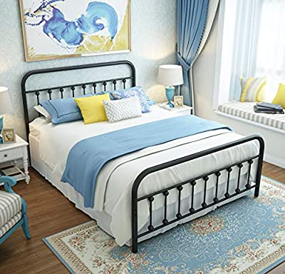URODECOR 9013 90132 Queen Platform Metal Bed Frame with Headboard and Footboard,Vintage Victorian Style Mattress Foundation, No Box Spring Required, Under Bed Storage