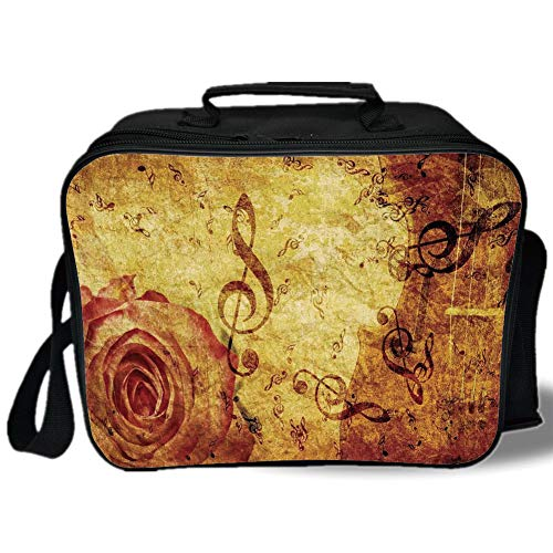 Insulated Lunch Bag,Roses Decorations,Old Fashioned Design with a Big Rose and Treble Clefs Music Notes Harmonical Concept,Cream Red,for Work/School/Picnic, Grey for $<!--$26.69-->