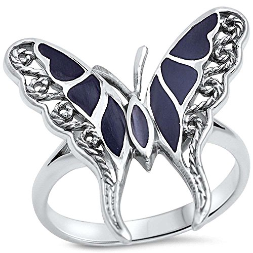 Oxford Diamond Co Filigree Style Black Onyx Butterfly .925 Sterling Silver Ring Sizes 8 Black Onyx Butterfly Ring