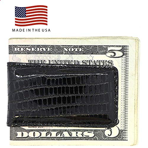 Black Genuine Lizard Magnetic Money Clip - American Factory Direct - Strong Shielded Magnets - Money Holder - Money Holder - Made in USA by Real Leather Creations FBA512 ()