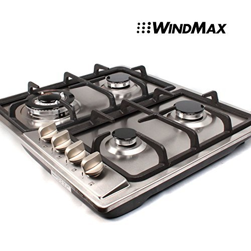 WindMax 23 Stainless Steel 4 Burner Stoves Gas Hob Cooktops Cooker Gas Oven 11259Btu/H GS402
