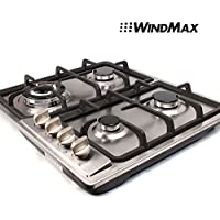 WindMax 23 Stainless Steel 4 Burner Stoves Gas Hob Cooktops Cooker Gas Oven 11259Btu/H
