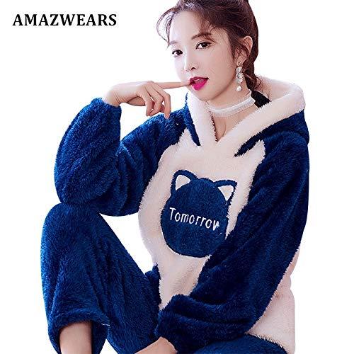 Animal Pijama Gruesa Pijamas Invierno Hembra Establece Homewear Caliente Blue Animados Dormir Tomorrow Mujer Dibujos Jylw Mujeres tPXqSwTxT