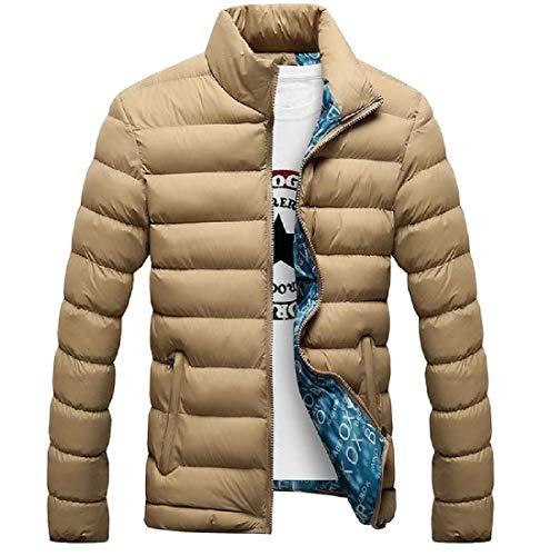 Warm Full Jacket Lightweight Khaki Thicken Slim Casual Fit Coat MogogoMen Zip HxYqUtaP