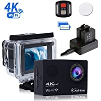 Kshioe 4K WIFI Sports Action Camera,16MP 170°Wide Angle LCD Screen Ultra HD 30M Waterproof DV Camcorder with 2.4G Remote Control+2Pcs 1050Mah Rechargeable Batteries+USB Dual battery Charger Black