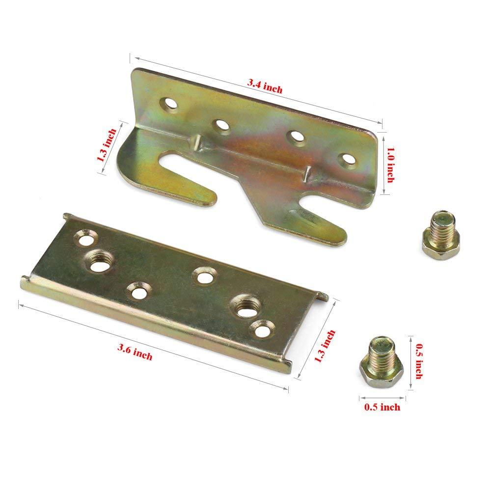 Bed Rail Bracket BESUNTEK Heavy Duty No-Mortise Bed Rail Fitting for Wood Bed (4PCS)