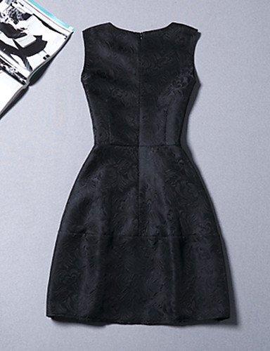 PU&PU Robe Aux femmes Gaine Vintage,Fleur Col Arrondi Au dessus du genou Polyester , red-l , red-l