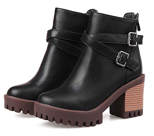 Solid Belt Zipper CHFSO Trendy Ankle Chunky Heel Black Round Mid Boots Buckle Toe Womens qwrXE0w