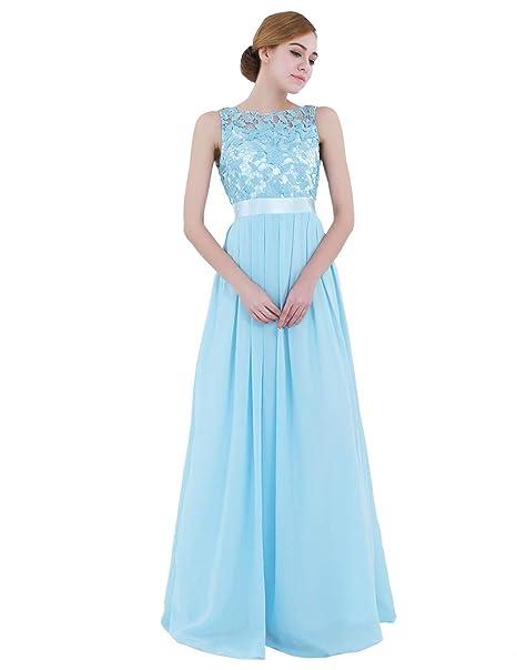 iiniim Vestido Floreado de Fiesta Boda para Mujer Vestido Largo de Dama de Honor Novia Elegente Vestido Encaje Vintage Falda Gasa