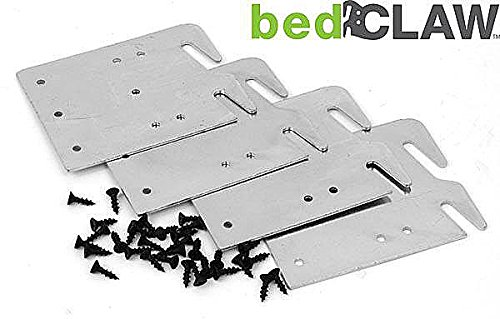 - Bed Claw Retro-Hook Plates for Wooden Bed Rail Restoration, Set of 4 with Screws, Bed Frame