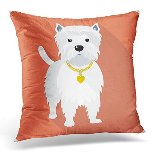 Breezat Throw Pillow Cover Westie Dog West Highland White Terrier Standing Icon Flat Design Amusing Animal Decorative Pillow Case Home Decor Square 18x18 Inches Pillowcase Miniature West Highland White Terrier