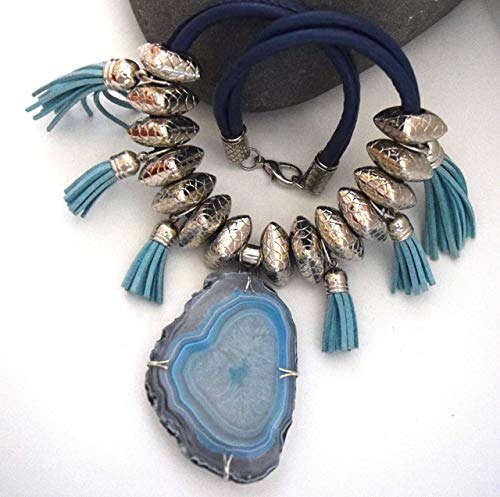 Bohemian Necklace Botswana Agate - The Perfect Gift - The Colors of the Sea - (Free ()