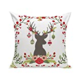 MIARHB Christmas Winter Deer, Merry Chritmas Letter Printed Cotton Linen Home Decorative Throw Pillow Case Cushion Cover for Sofa Couch(18'' x 18'', C)