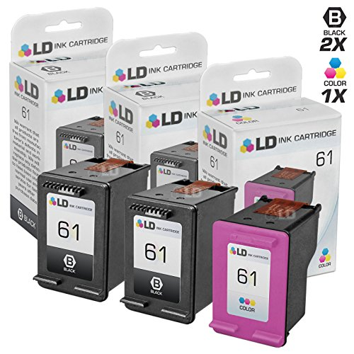 LD © Remanufactured Ink Cartridge Replacements for HP CH561WN HP 61 Black and HP CH562WN (HP 61) Color (2 Black and 1 Color)
