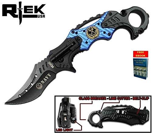 Only US NAVY Spring Assisted Tactical Karambit Pocket Knife Black Blue Combat LED Light