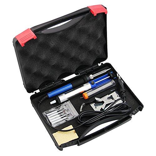 ZILONG 6-in-1 Lötkolben-Set 220V 60W mit einemTemperaturbereich von 200 °C - 450°C, Lötkolben, Lötzinn, Ständer/ Halterung, Pumpe zum entlöten, 5 Lötspitzen, Antistatische Zange