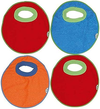 Ti TIN Pack 4 Baberos Impermeables para Bebés de Más de 1 año con Cuello de Goma Elástica | Babero con Toalla de Rizo Forrado con Plástico Compuesto de 90% Algodón y 10% Poliéster, 32x36 cm