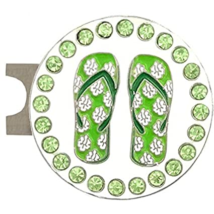 373fcd0932d9 Amazon.com   Giggle Golf Bling Green Flip Flops Golf Ball Marker with A  Standard Hat Clip   Sports   Outdoors