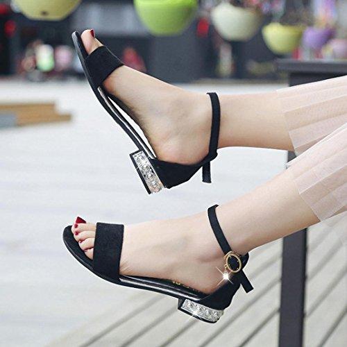 Flops Sandalen SANFASHION Offene Förderung Sandalen Flache Zehe Sommer Schwarz Große Gladiator Schuhe Dame Schuhe xqRxAwSaP