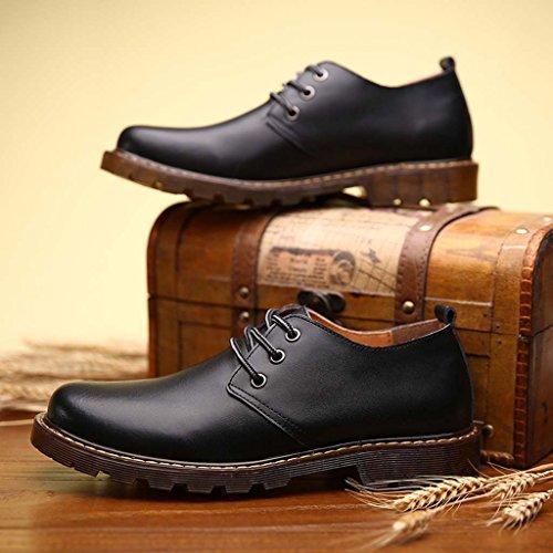 ZXCV Zapatos al aire libre Zapatos de cuero de los Oxfords ocasionales del vestido de los hombres Negro