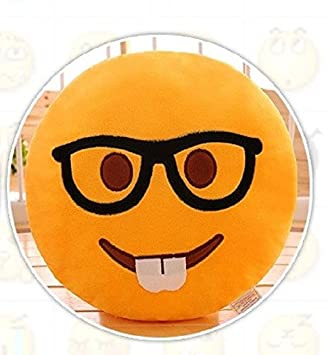 Skylofts 37Cm Studious Student Stylish Cool Emoji I Am Hungry Pillow Smiley Cushion Soft Toy (Studious Emoji)