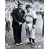 MLB New York Yankees Yogi Berra with Babe Ruth B/W Vertical Photograph having 1947 Inscription, 11x14-Inch