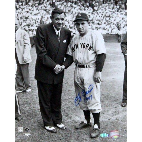 MLB New York Yankees Yogi Berra with Babe Ruth B/W Vertical Photograph having 1947 Inscription, - Fame Inscription Mlb Baseball