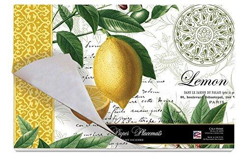 Cala Home 24-Pack Disposable Paper Placemats, Citron