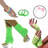 80s Accessories Women Fancy Outfit Set,Headband,Earrings,Gloves,Bracelets,Fishnet,Leg Warmers (Green)