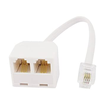 Sourcingmap 6P4C RJ11 to RJ11 Female//Female Telephone Cable Coupler Adapter White