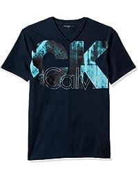 Jeans Men's Short Sleeve Big Ck Logo V-Neck T-Shirt