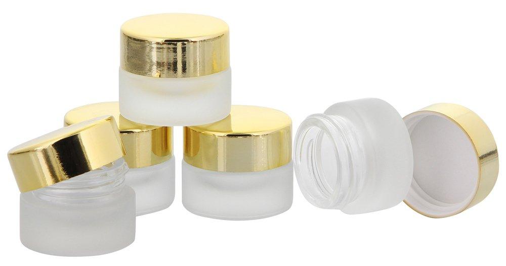 Matt Glastiegel 15ml m. weißen Kunststoff-Deckel, Leerer Tiegel, Kosmetex Glasdose, 10× weiß 10× weiß