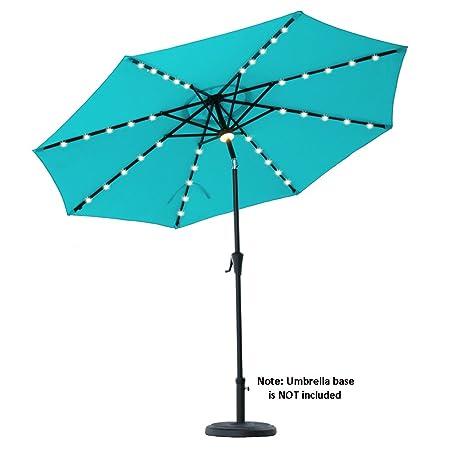 C-Hopetree 9 Patio Umbrella Solar LED Lights 8 Rib Outdoor Market Parasol Crank Winder Push Button Tilt Aqua Blue