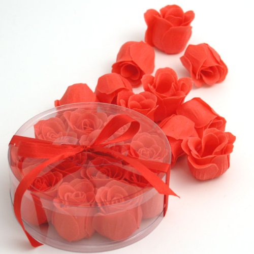 Rose Soap Set (Wrapables Scented Rose Soaps, Red, Set of 12)