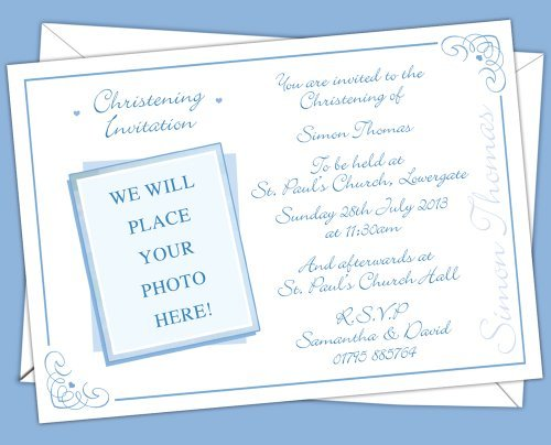 12 Personalised Christening Baptism PHOTO added Invitations, Invites CB 4