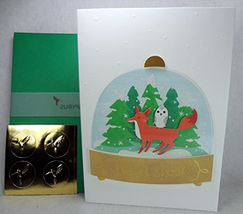 Handmade Fox Owl Woodland Animals Snow Globe Boxed Cards – Set of 8