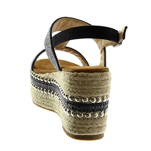 Mule Angkorly Strass Chaussure Salomés cm 5 Clouté Plateforme Cheville Mode Sandale Talon Noir 8 Plateforme Corde Femme Lanière Diamant Compensé rtqqdz0w