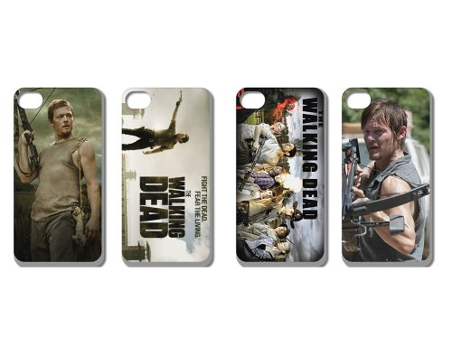 Wholesales 4pcs the Walking Dead Fashion Back Cover Case Skin for Apple Iphone 4 4s 4g 4th Generation-i4wd4005
