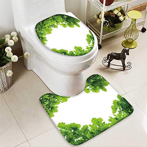 aolankaili 2 Piece Bathroom Mat Set Oak Tree Leaves Isolated Personalized Durable