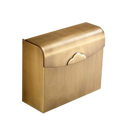 QTT Caja De Pañuelos De Baño De Cobre Caja De Pañuelos De Papel Higiénico Bandeja Antigua