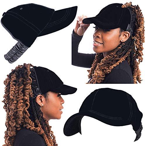 - Satin Lined Baseball Hat for Women | Ponytail or Half Hair Opening | No Breakage Scrunchie Hat for Curly, Thick, Natural Hair | Natural Hair Baseball Hat in Velvet Black ...
