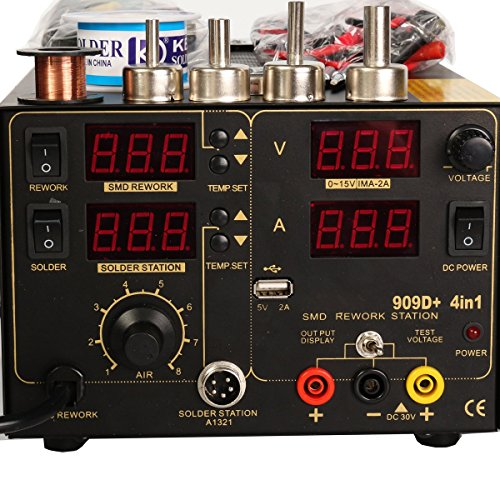 Saike 909D+ Rework Soldering Station + Hot Air Gun + DC Power Supply 3 in 1 Multi-function Set with full Accessories by Artee Shop (Image #2)