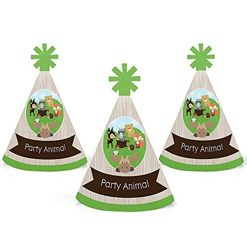 Woodland Creatures - Mini Cone Baby Shower Birthday Party Hats - Small Little Party Hats - Set of 10 by Big Dot of Happiness