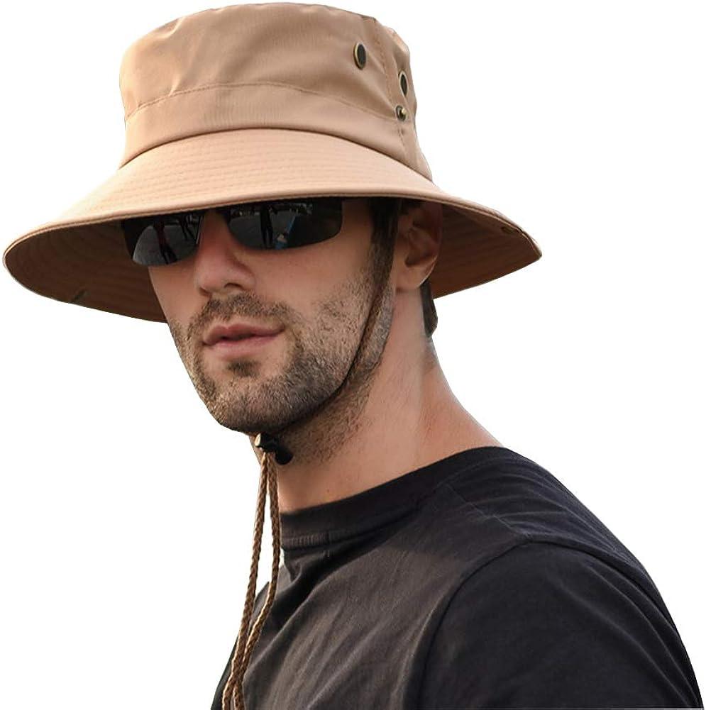 Fyore sombrero de playa transpirable pesca protecci/ón UV senderismo dise/ño de cubo de verano Sombrero de sol para hombre ala ancha