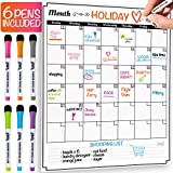 Dry Erase Monthly Calendar Set - Large Magnetic White Board & Grocery List Organizer for Kitchen Refrigerator (Vertical)