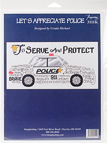 I3111 Lets Appreciate Police Counted Cross Stitch Kit 12 X6  14 Count