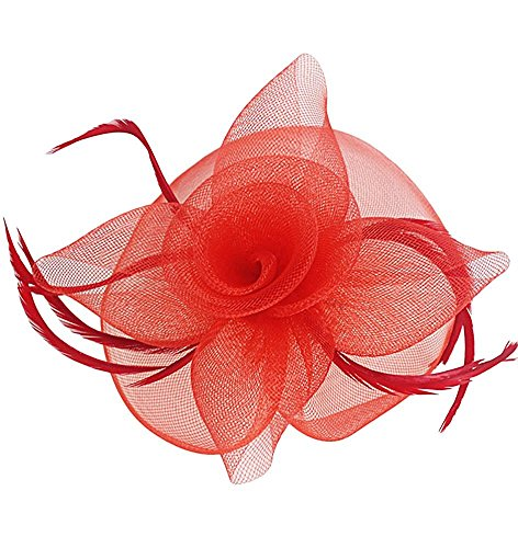 Cap Headpiece - Ahugehome Kentucky Derby Fascinator Hair Clip Hat Feather Prom Cocktail Party Headwear (B Red)