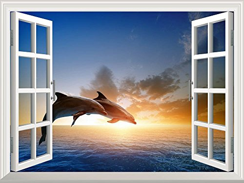 wall26 Removable Wall Sticker/Wall Mural - Beautiful Couple Jumping Dolphins at Sea Sunset | Creative Window View Home Decor/Wall Decor - 24